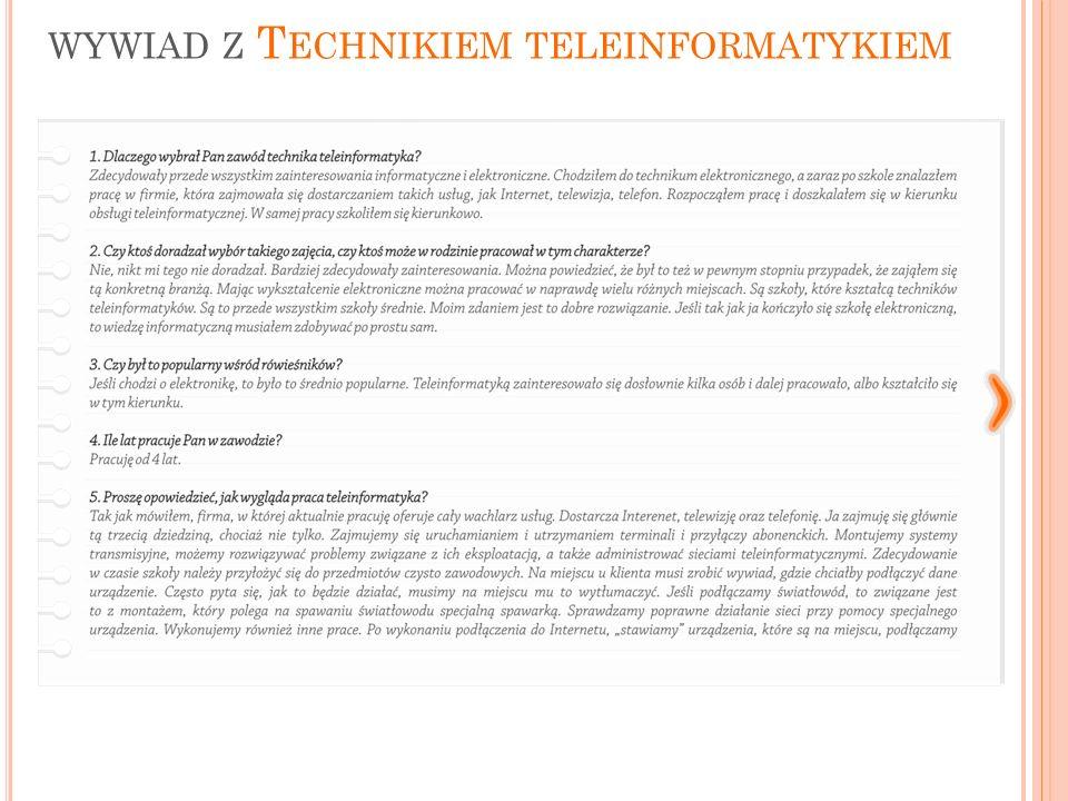 WYWIAD Z T ECHNIKIEM TELEINFORMATYKIEM