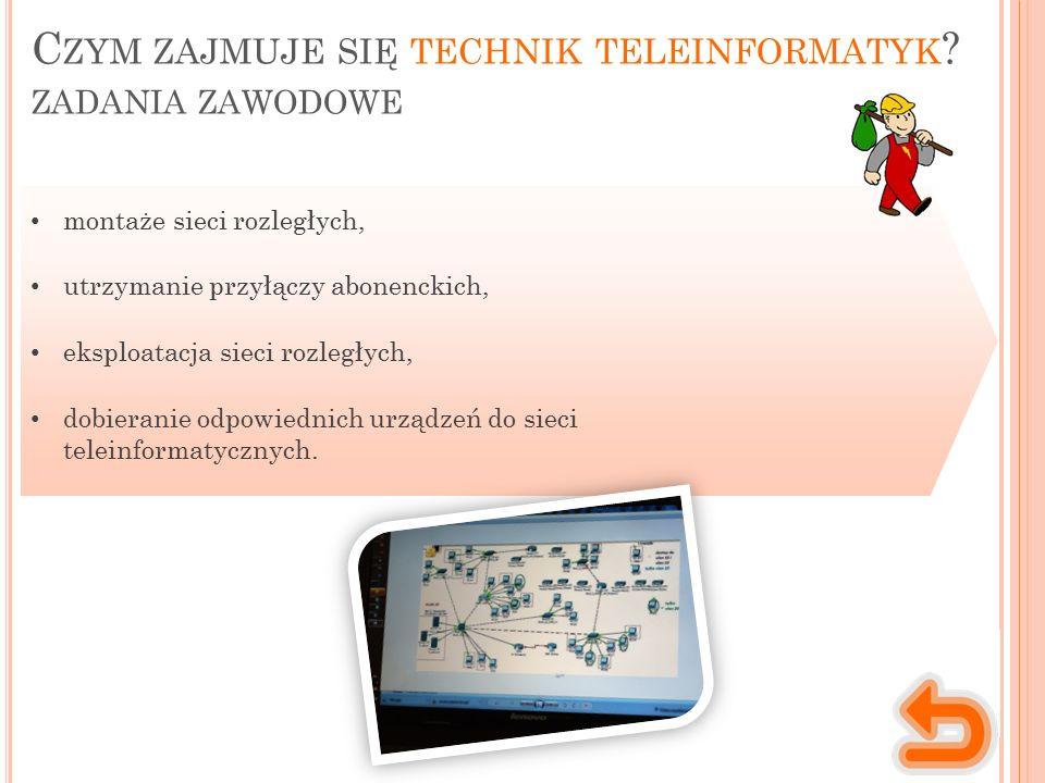 C ZYM ZAJMUJE SIĘ TECHNIK TELEINFORMATYK ? ZADANIA ZAWODOWE montaże sieci rozległych, utrzymanie przyłączy abonenckich, eksploatacja sieci rozległych,