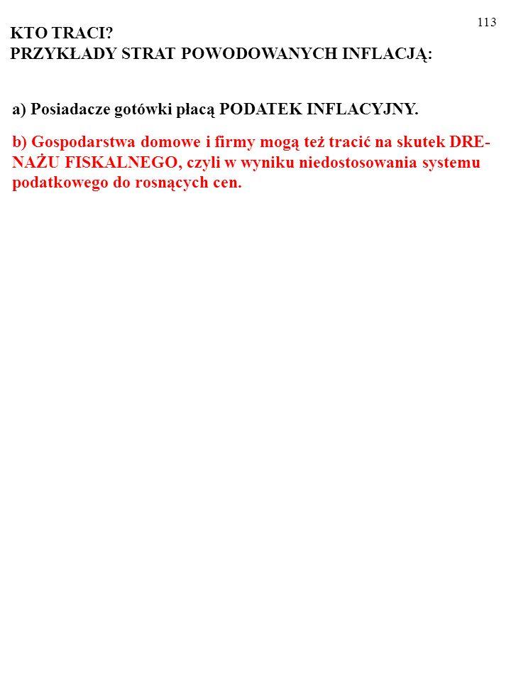 112 a)Posiadacze gotówki płacą PODATEK INFLACYJNY.