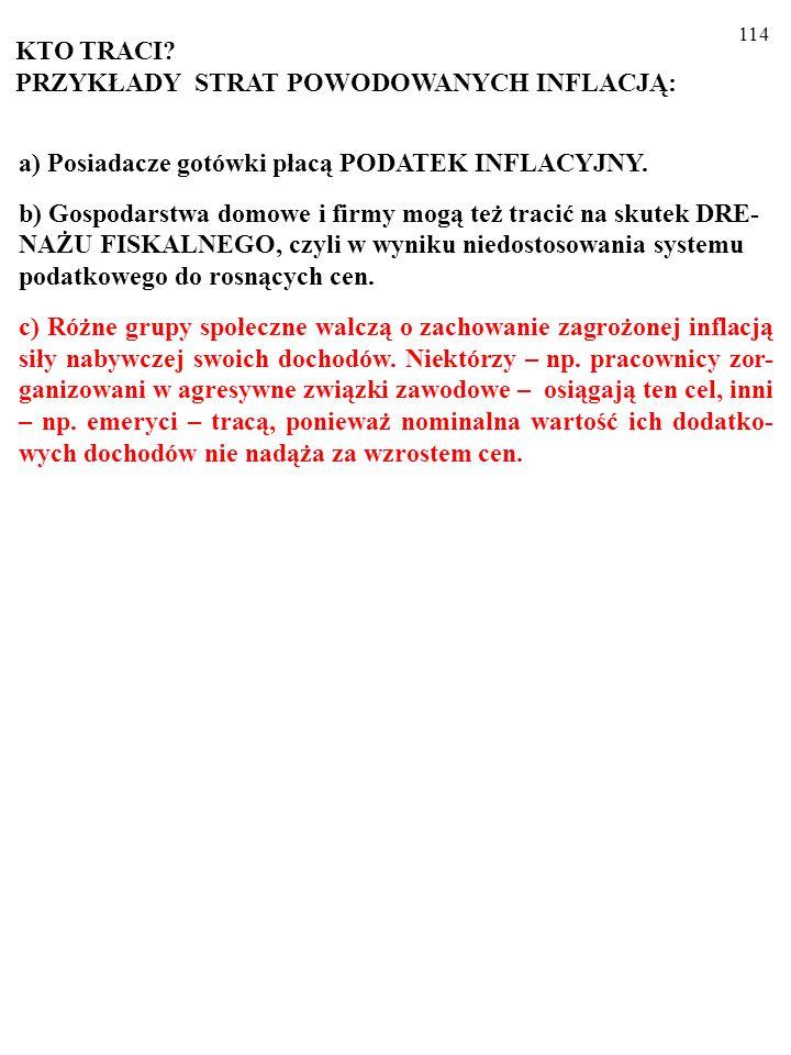 113 a) Posiadacze gotówki płacą PODATEK INFLACYJNY.