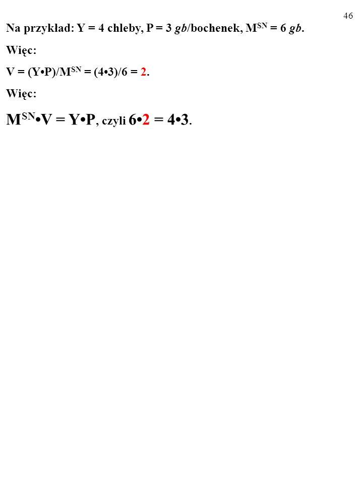 45 M SNV = YP RÓWNANIE WYMIANY FISHERA jest zawsze prawdziwe, właśnie dlatego, że: V = (YP)/M SN.