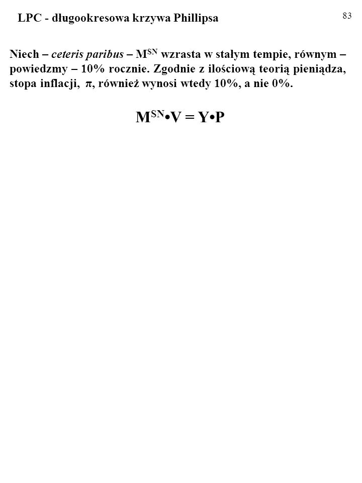 82 Niech – ceteris paribus – M SN wzrasta w stałym tempie, równym – powiedzmy – 10% rocznie.