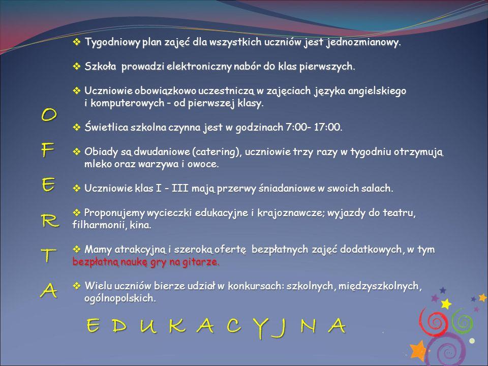 OFERTA E D U K A C Y J N A E D U K A C Y J N A  Tygodniowy plan zajęć dla wszystkich uczniów jest jednozmianowy.  Szkoła prowadzi elektroniczny nabó