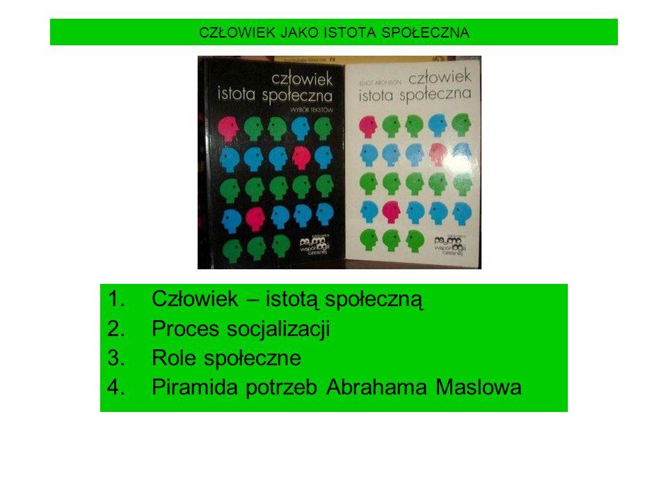 CZŁOWIEK JAKO ISTOTA SPOŁECZNA 1.Człowiek – istotą społeczną 2.Proces socjalizacji 3.Role społeczne 4.Piramida potrzeb Abrahama Maslowa