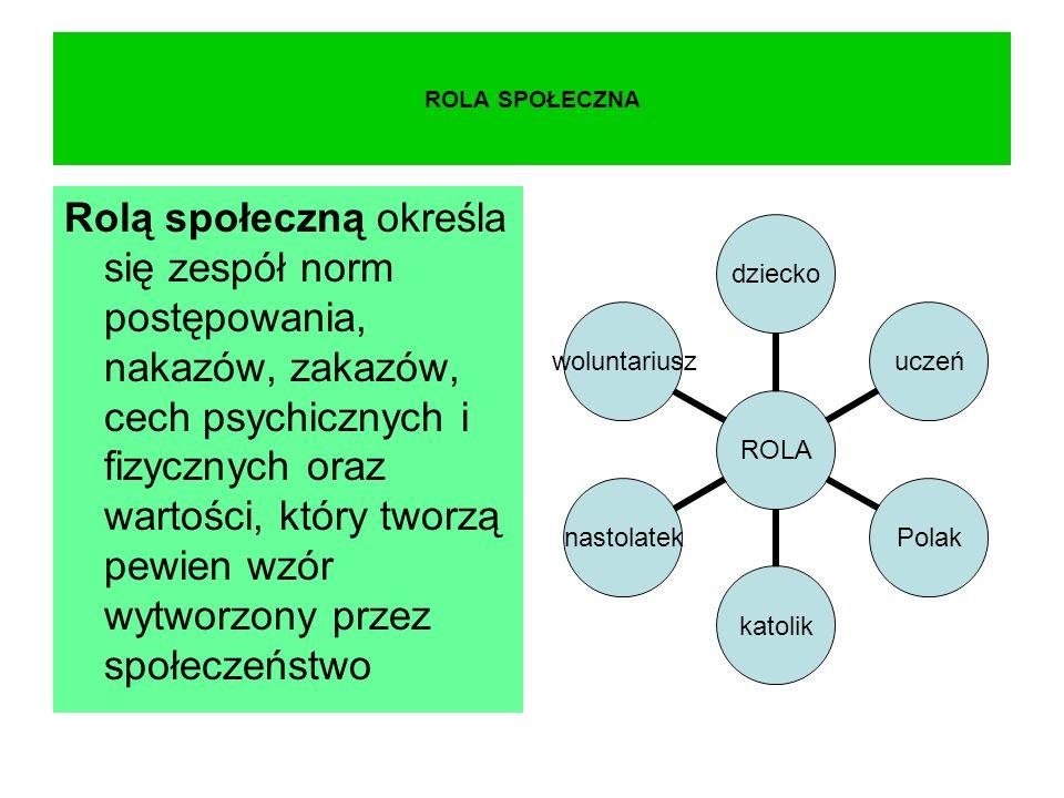 ROLA SPOŁECZNA Rolą społeczną określa się zespół norm postępowania, nakazów, zakazów, cech psychicznych i fizycznych oraz wartości, który tworzą pewien wzór wytworzony przez społeczeństwo ROLA dzieckouczeńPolakkatoliknastolatekwoluntariusz