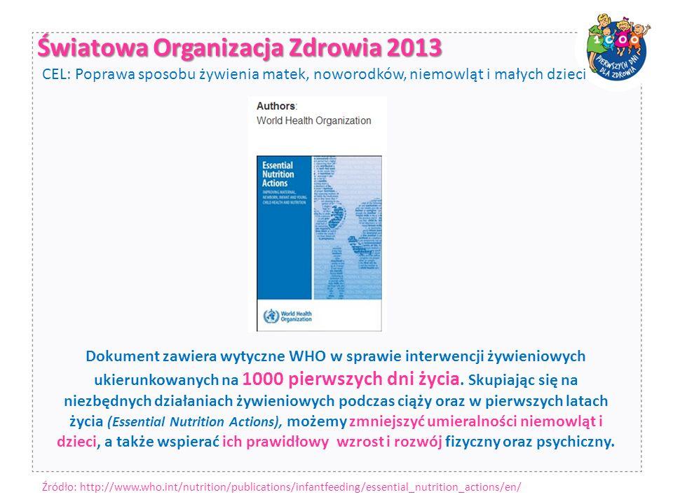 Światowa Organizacja Zdrowia 2013 Dokument zawiera wytyczne WHO w sprawie interwencji żywieniowych ukierunkowanych na 1000 pierwszych dni życia.