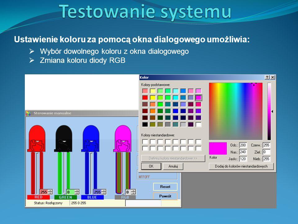 Ustawienie koloru za pomocą okna dialogowego umożliwia:  Wybór dowolnego koloru z okna dialogowego  Zmiana koloru diody RGB