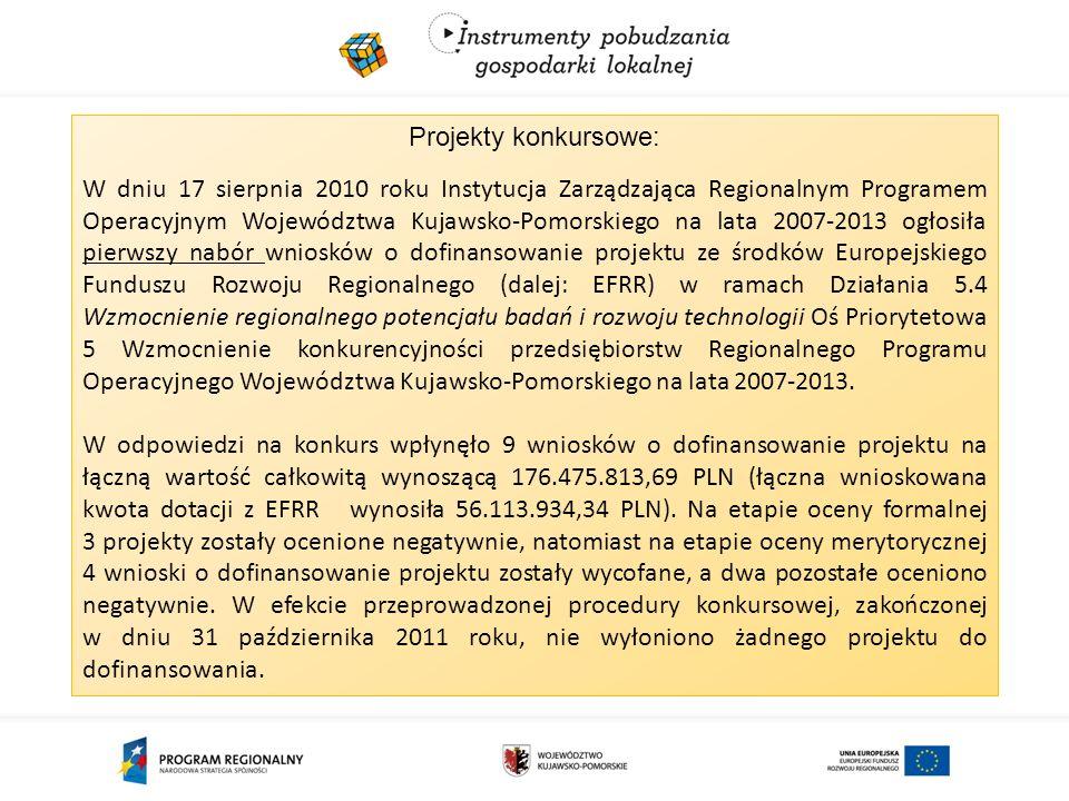 Projekty konkursowe: W dniu 17 sierpnia 2010 roku Instytucja Zarządzająca Regionalnym Programem Operacyjnym Województwa Kujawsko-Pomorskiego na lata 2007-2013 ogłosiła pierwszy nabór wniosków o dofinansowanie projektu ze środków Europejskiego Funduszu Rozwoju Regionalnego (dalej: EFRR) w ramach Działania 5.4 Wzmocnienie regionalnego potencjału badań i rozwoju technologii Oś Priorytetowa 5 Wzmocnienie konkurencyjności przedsiębiorstw Regionalnego Programu Operacyjnego Województwa Kujawsko-Pomorskiego na lata 2007-2013.