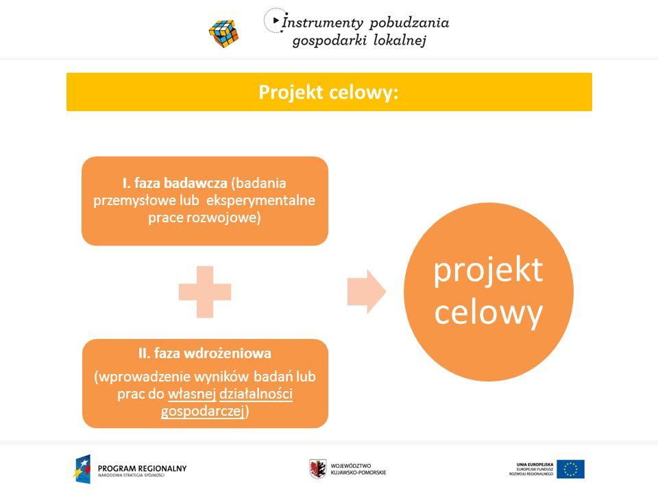 Projekt celowy: I. faza badawcza (badania przemysłowe lub eksperymentalne prace rozwojowe) II.