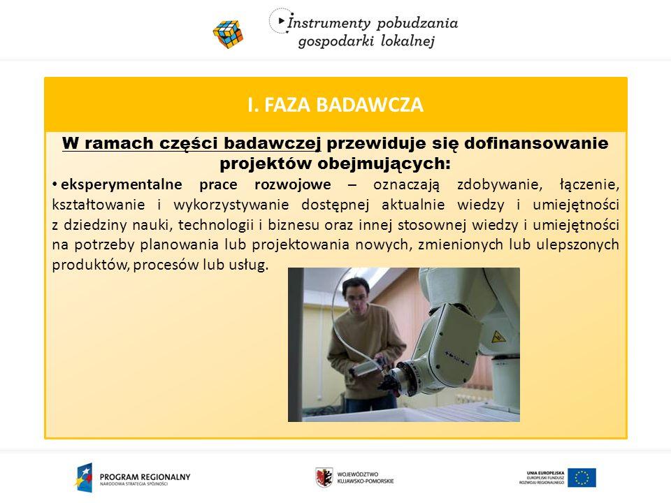 I. FAZA BADAWCZA W ramach części badawczej przewiduje się dofinansowanie projektów obejmujących: eksperymentalne prace rozwojowe – oznaczają zdobywani