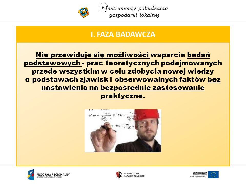I. FAZA BADAWCZA Nie przewiduje się możliwości wsparcia badań podstawowych - prac teoretycznych podejmowanych przede wszystkim w celu zdobycia nowej w