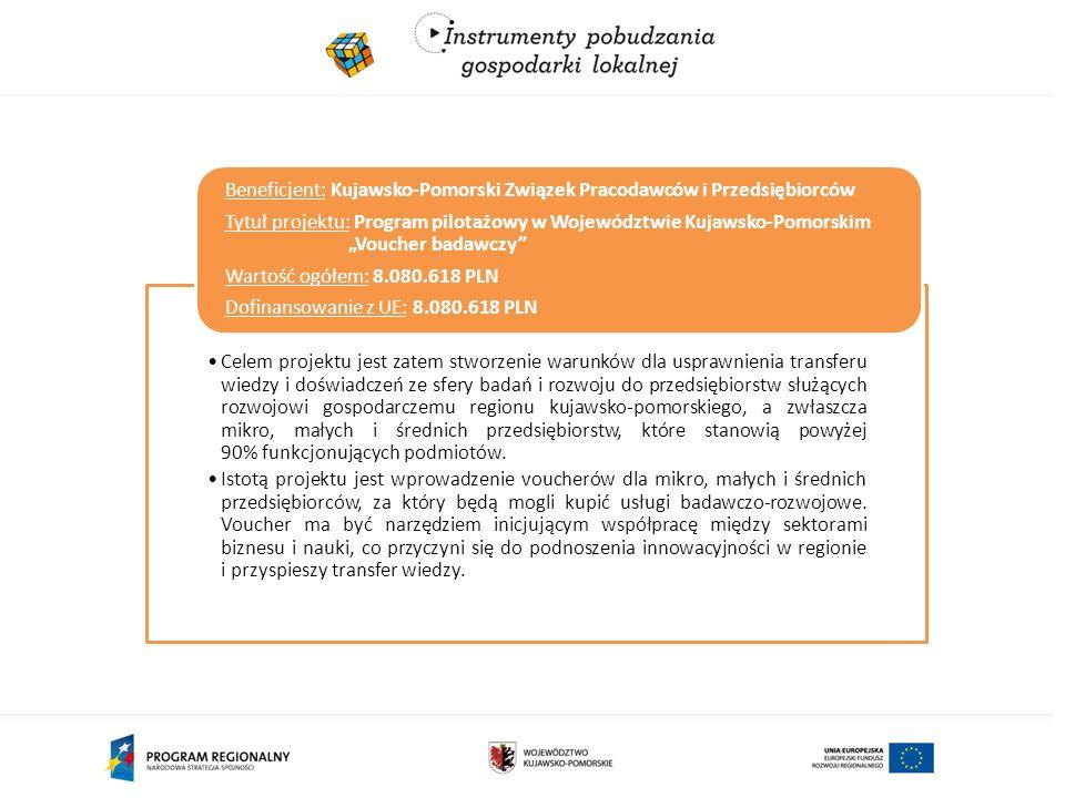 Celem projektu jest zatem stworzenie warunków dla usprawnienia transferu wiedzy i doświadczeń ze sfery badań i rozwoju do przedsiębiorstw służących rozwojowi gospodarczemu regionu kujawsko-pomorskiego, a zwłaszcza mikro, małych i średnich przedsiębiorstw, które stanowią powyżej 90% funkcjonujących podmiotów.