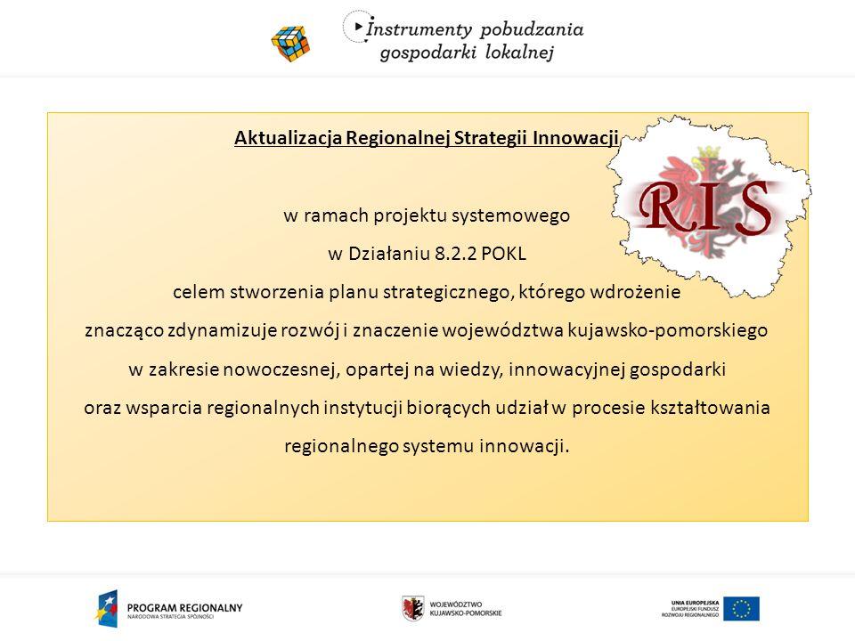 Aktualizacja Regionalnej Strategii Innowacji w ramach projektu systemowego w Działaniu 8.2.2 POKL celem stworzenia planu strategicznego, którego wdrożenie znacząco zdynamizuje rozwój i znaczenie województwa kujawsko-pomorskiego w zakresie nowoczesnej, opartej na wiedzy, innowacyjnej gospodarki oraz wsparcia regionalnych instytucji biorących udział w procesie kształtowania regionalnego systemu innowacji.