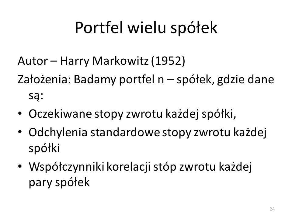 Portfel wielu spółek Autor – Harry Markowitz (1952) Założenia: Badamy portfel n – spółek, gdzie dane są: Oczekiwane stopy zwrotu każdej spółki, Odchyl