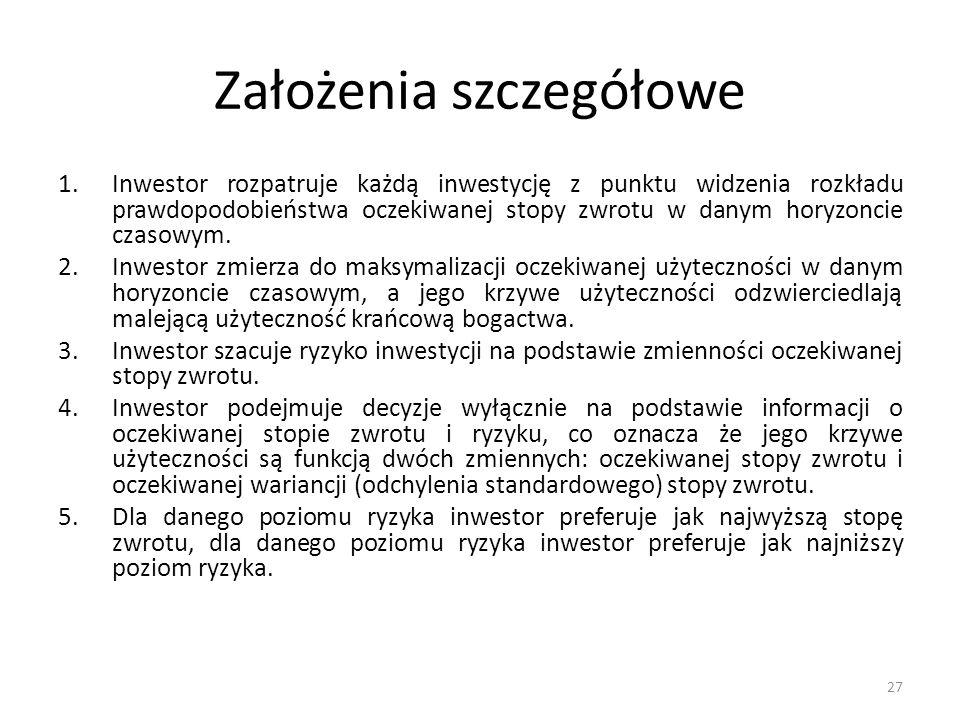 Założenia szczegółowe 1.Inwestor rozpatruje każdą inwestycję z punktu widzenia rozkładu prawdopodobieństwa oczekiwanej stopy zwrotu w danym horyzoncie