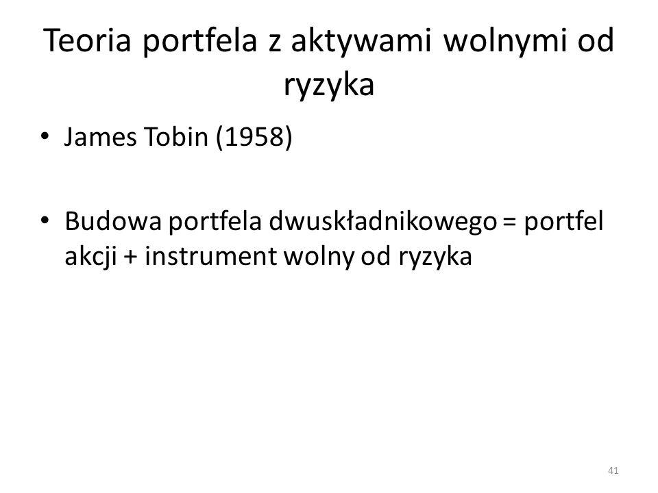 Teoria portfela z aktywami wolnymi od ryzyka James Tobin (1958) Budowa portfela dwuskładnikowego = portfel akcji + instrument wolny od ryzyka 41