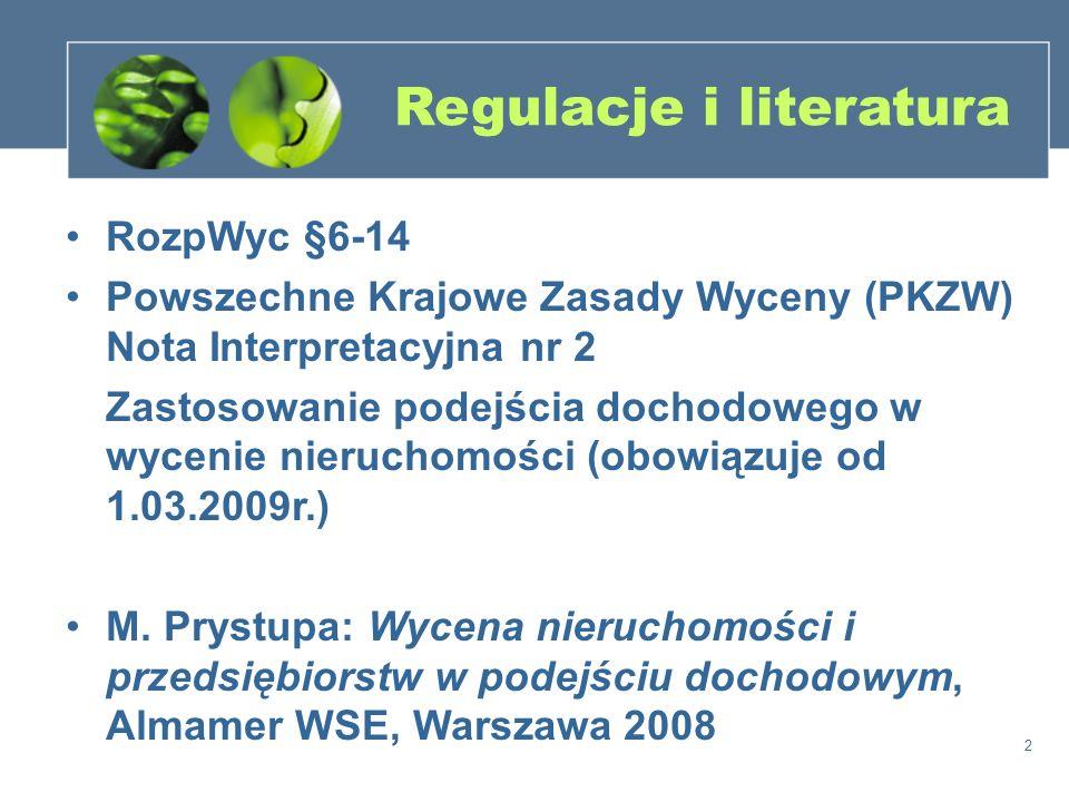 2 Regulacje i literatura RozpWyc §6-14 Powszechne Krajowe Zasady Wyceny (PKZW) Nota Interpretacyjna nr 2 Zastosowanie podejścia dochodowego w wycenie
