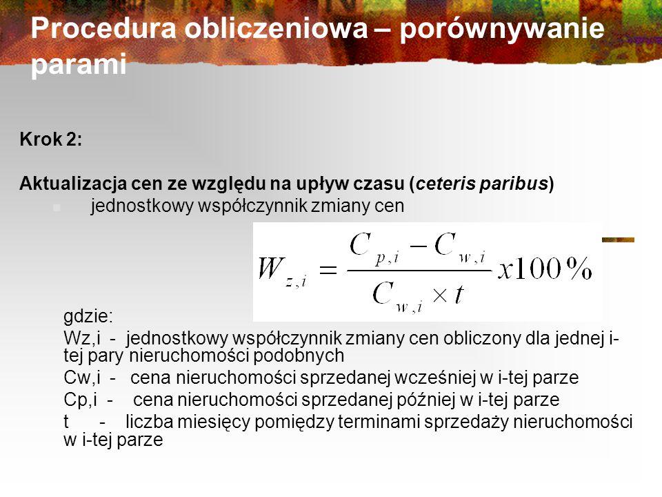 Procedura obliczeniowa – porównywanie parami Krok 2: Aktualizacja cen ze względu na upływ czasu (ceteris paribus) jednostkowy współczynnik zmiany cen gdzie: Wz,i - jednostkowy współczynnik zmiany cen obliczony dla jednej i- tej pary nieruchomości podobnych Cw,i - cena nieruchomości sprzedanej wcześniej w i-tej parze Cp,i - cena nieruchomości sprzedanej później w i-tej parze t - liczba miesięcy pomiędzy terminami sprzedaży nieruchomości w i-tej parze