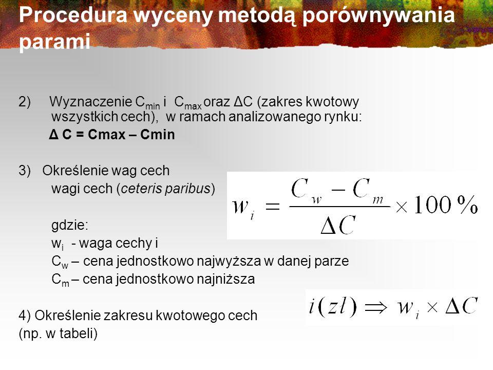 Procedura wyceny metodą porównywania parami 2) Wyznaczenie C min i C max oraz ΔC (zakres kwotowy wszystkich cech), w ramach analizowanego rynku: Δ C = Cmax – Cmin 3) Określenie wag cech wagi cech (ceteris paribus) gdzie: w i - waga cechy i C w – cena jednostkowo najwyższa w danej parze C m – cena jednostkowo najniższa 4) Określenie zakresu kwotowego cech (np.