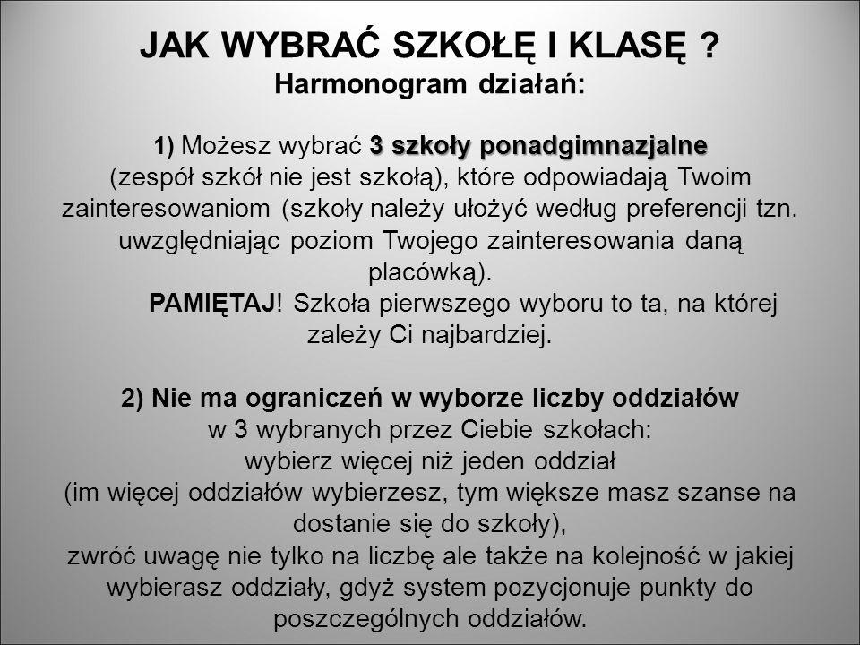 3 szkoły ponadgimnazjalne JAK WYBRAĆ SZKOŁĘ I KLASĘ .