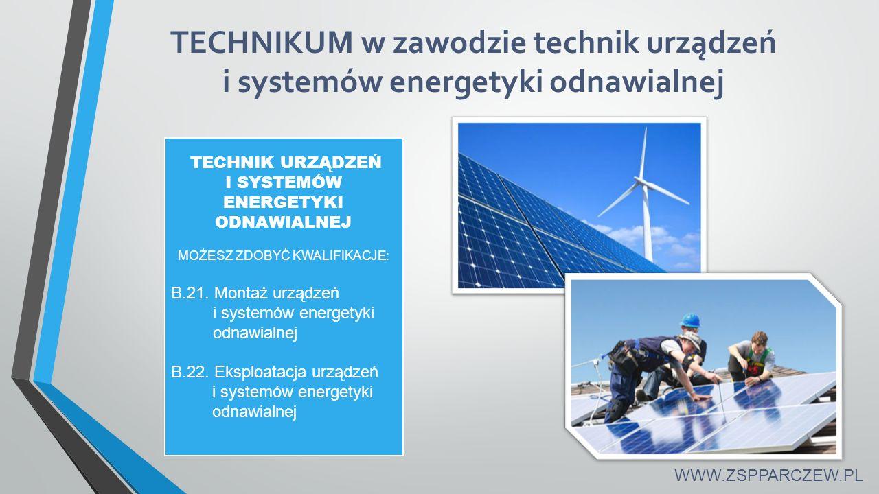 TECHNIKUM w zawodzie technik urządzeń i systemów energetyki odnawialnej WWW.ZSPPARCZEW.PL TECHNIK URZĄDZEŃ I SYSTEMÓW ENERGETYKI ODNAWIALNEJ MOŻESZ ZDOBYĆ KWALIFIKACJE: B.21.