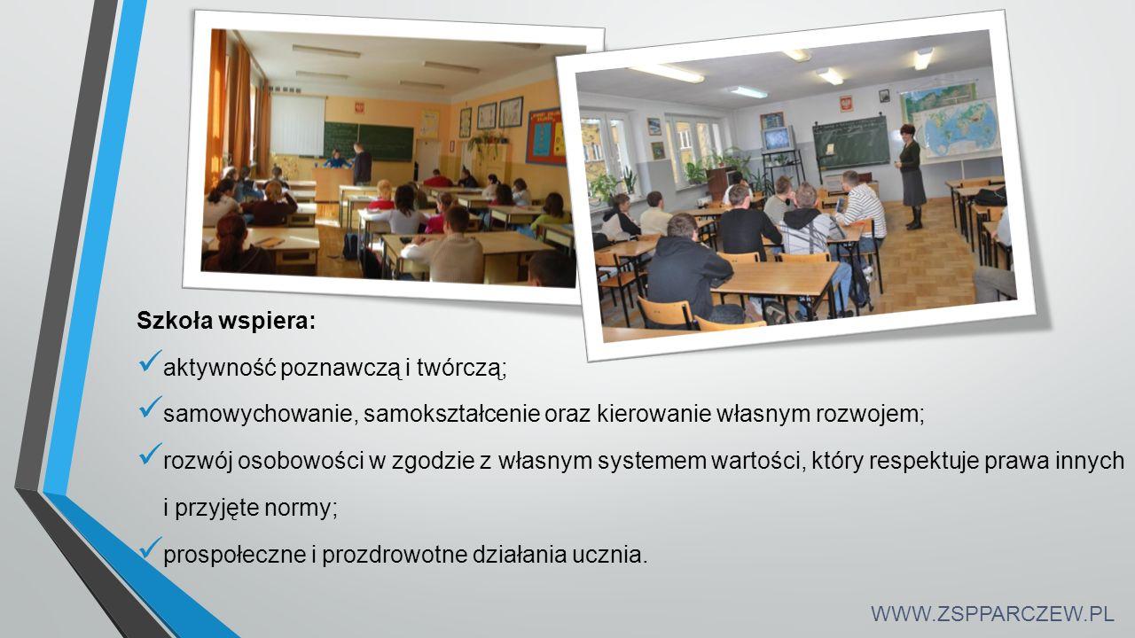Szkoła wspiera: aktywność poznawczą i twórczą; samowychowanie, samokształcenie oraz kierowanie własnym rozwojem; rozwój osobowości w zgodzie z własnym