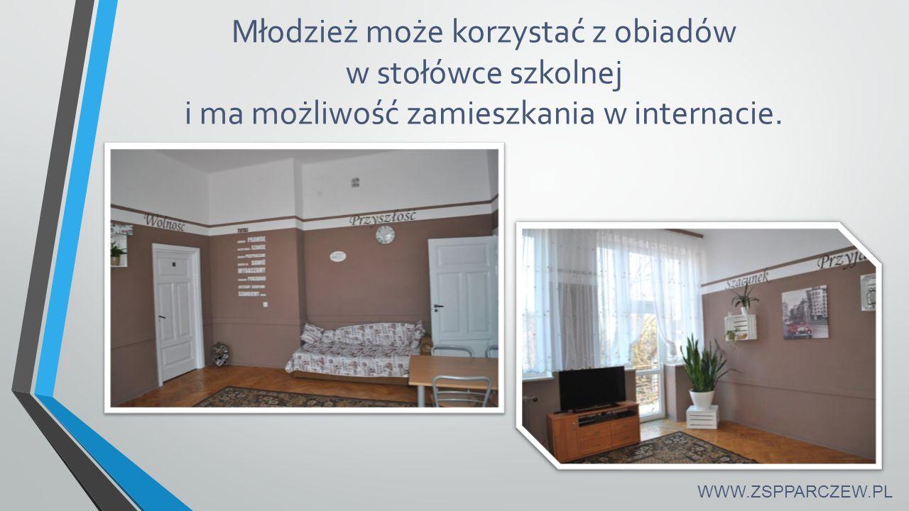 Młodzież może korzystać z obiadów w stołówce szkolnej i ma możliwość zamieszkania w internacie. WWW.ZSPPARCZEW.PL