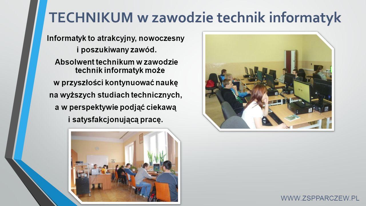 TECHNIKUM w zawodzie technik informatyk Informatyk to atrakcyjny, nowoczesny i poszukiwany zawód. Absolwent technikum w zawodzie technik informatyk mo