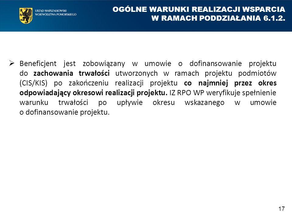 OGÓLNE WARUNKI REALIZACJI WSPARCIA W RAMACH PODDZIAŁANIA 6.1.2.