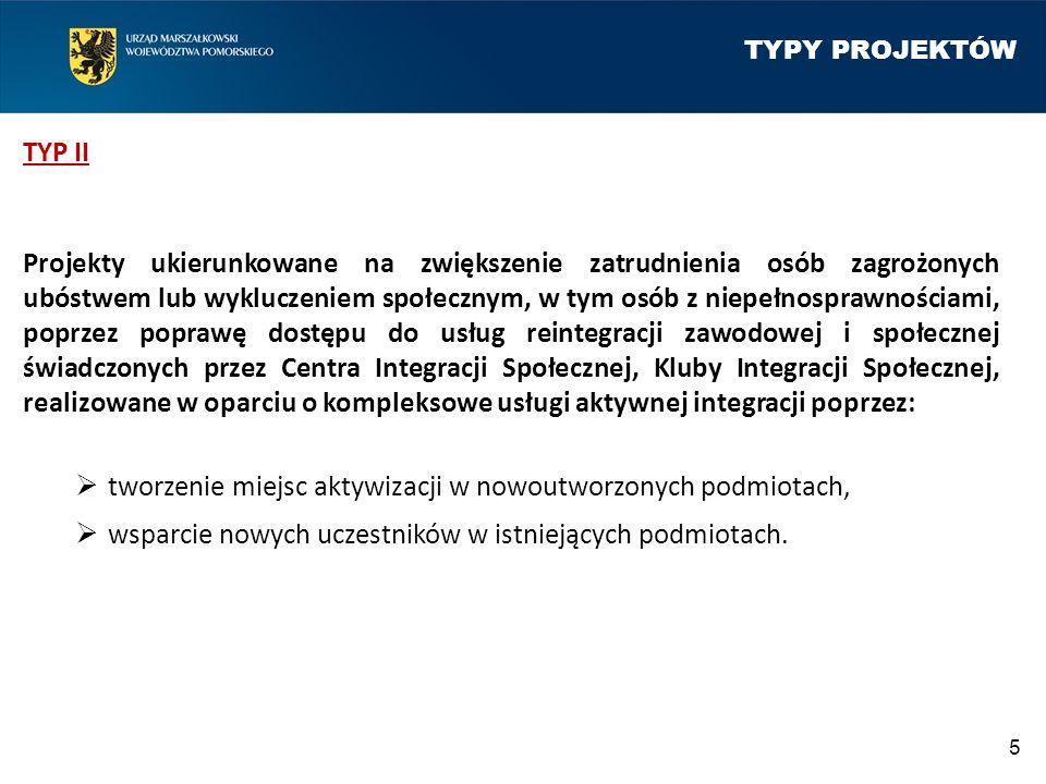 TYPY PROJEKTÓW TYP III Projekty ukierunkowane na zwiększenie zatrudnienia osób z niepełnosprawnościami, poprzez poprawę dostępu do usług rehabilitacji zawodowej i społecznej, realizowane w ramach działalności Warsztatów Terapii Zajęciowej (WTZ) obejmujące:  wsparcie nowych uczestników w istniejących WTZ usługami aktywnej integracji,  wsparcie dotychczasowych uczestników WTZ nową ofertą, wzbogaconą o usługi aktywnej integracji, w szczególności o charakterze zawodowym.