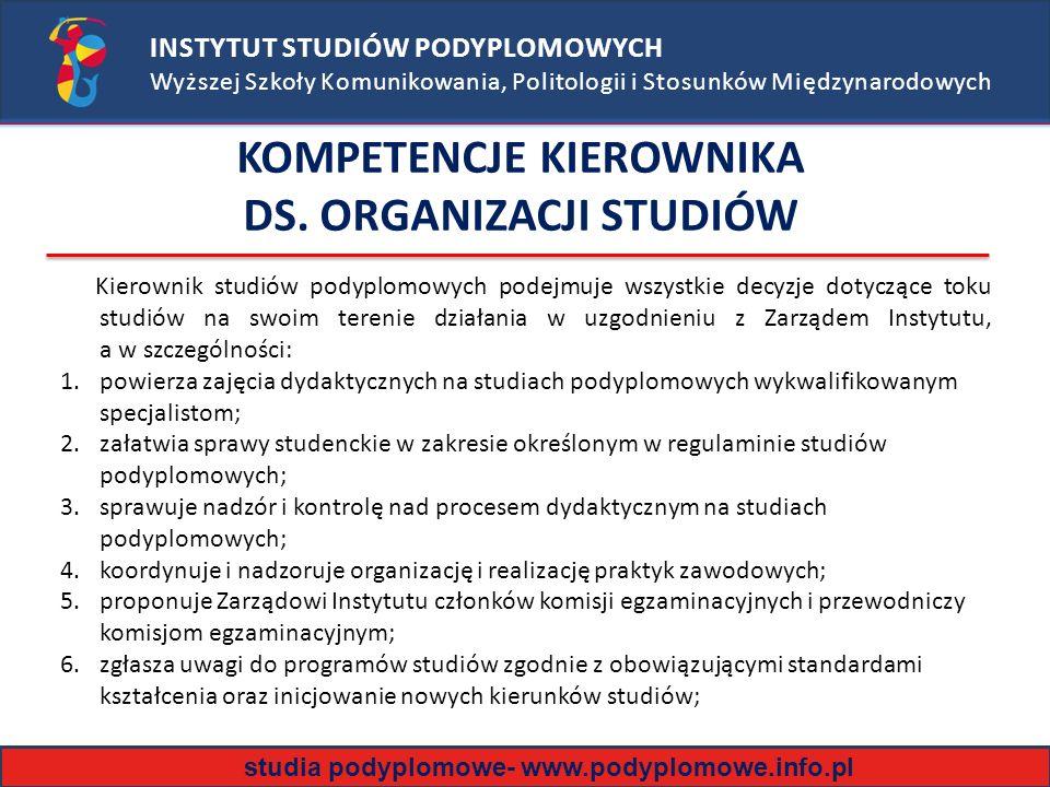 INSTYTUT STUDIÓW PODYPLOMOWYCH Wyższej Szkoły Komunikowania, Politologii i Stosunków Międzynarodowych Kierownik studiów podyplomowych podejmuje wszystkie decyzje dotyczące toku studiów na swoim terenie działania w uzgodnieniu z Zarządem Instytutu, a w szczególności: 1.powierza zajęcia dydaktycznych na studiach podyplomowych wykwalifikowanym specjalistom; 2.załatwia sprawy studenckie w zakresie określonym w regulaminie studiów podyplomowych; 3.sprawuje nadzór i kontrolę nad procesem dydaktycznym na studiach podyplomowych; 4.koordynuje i nadzoruje organizację i realizację praktyk zawodowych; 5.proponuje Zarządowi Instytutu członków komisji egzaminacyjnych i przewodniczy komisjom egzaminacyjnym; 6.zgłasza uwagi do programów studiów zgodnie z obowiązującymi standardami kształcenia oraz inicjowanie nowych kierunków studiów; KOMPETENCJE KIEROWNIKA DS.