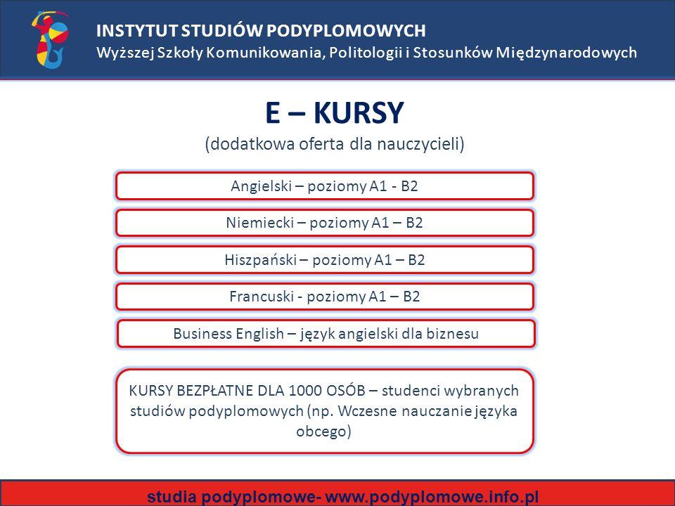 INSTYTUT STUDIÓW PODYPLOMOWYCH Wyższej Szkoły Komunikowania, Politologii i Stosunków Międzynarodowych E – KURSY (dodatkowa oferta dla nauczycieli) Angielski – poziomy A1 - B2 Niemiecki – poziomy A1 – B2 Hiszpański – poziomy A1 – B2 Francuski - poziomy A1 – B2 KURSY BEZPŁATNE DLA 1000 OSÓB – studenci wybranych studiów podyplomowych (np.