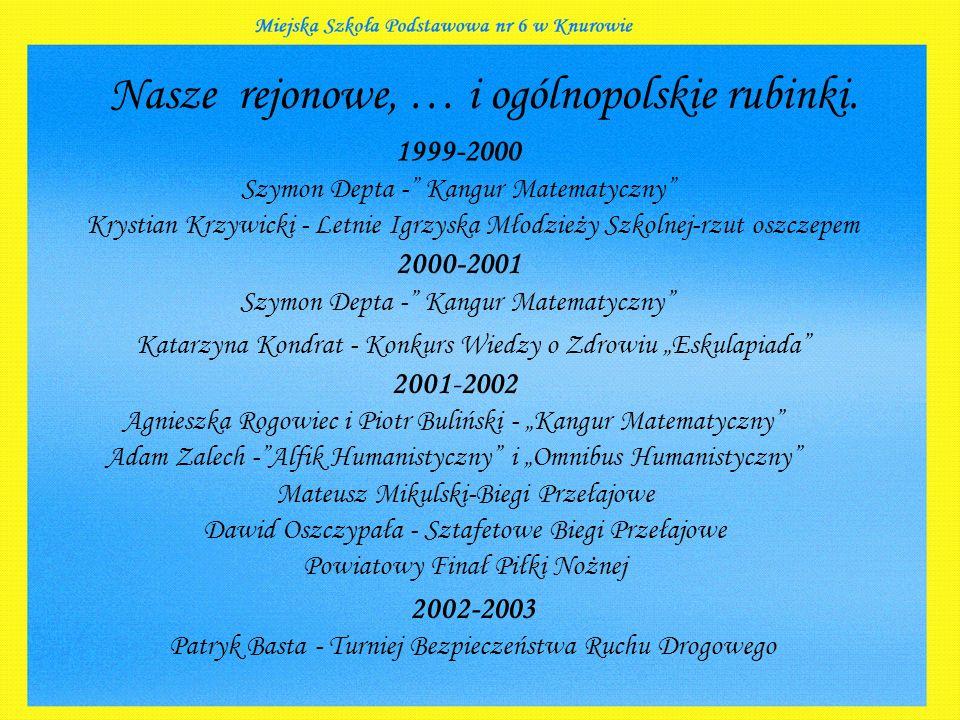 """1999-2000 Szymon Depta -"""" Kangur Matematyczny"""" 2000-2001 Szymon Depta -"""" Kangur Matematyczny"""" 2001-2002 Agnieszka Rogowiec i Piotr Buliński - """"Kangur"""