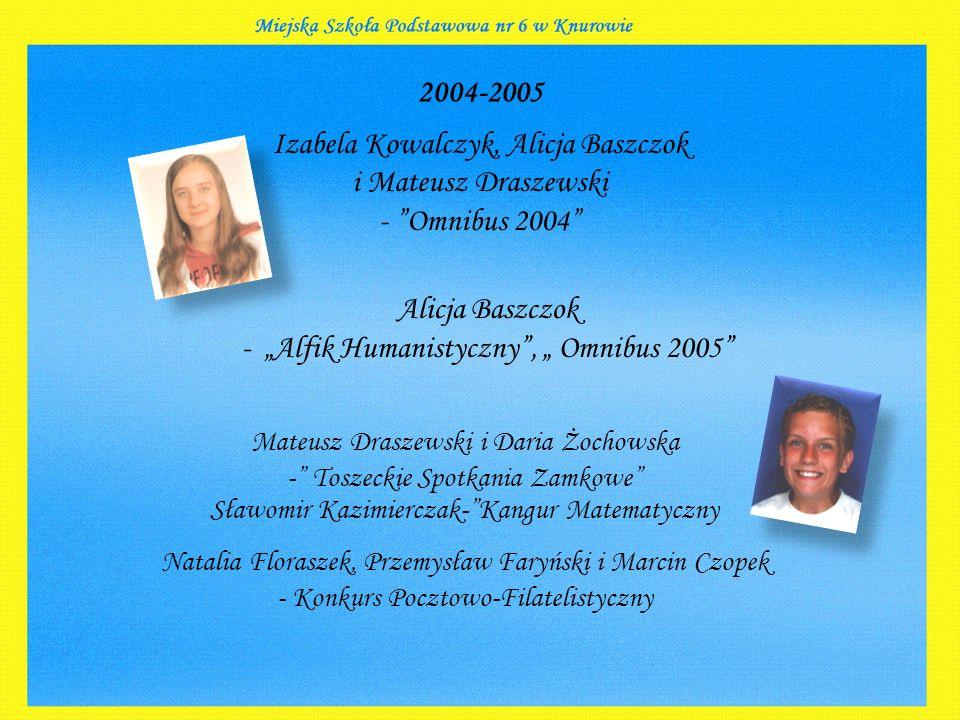 """2004-2005 Izabela Kowalczyk, Alicja Baszczok i Mateusz Draszewski - """"Omnibus 2004"""" Alicja Baszczok - """"Alfik Humanistyczny"""", """" Omnibus 2005"""" Mateusz Dr"""
