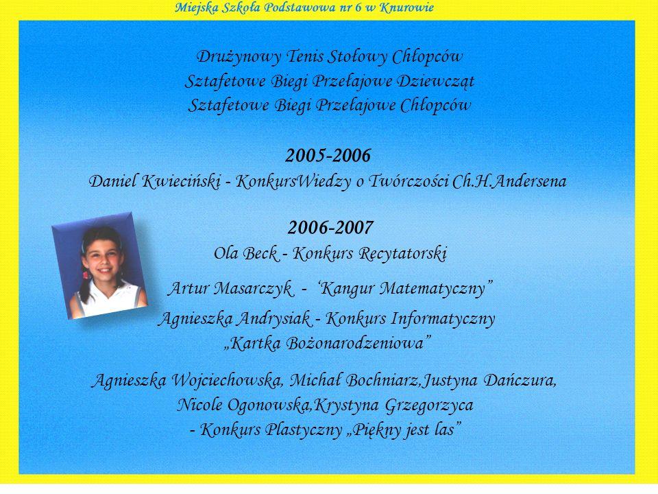 2006-2007 Ola Beck - Konkurs Recytatorski 2005-2006 Daniel Kwieciński - KonkursWiedzy o Twórczości Ch.H.Andersena Drużynowy Tenis Stołowy Chłopców Szt