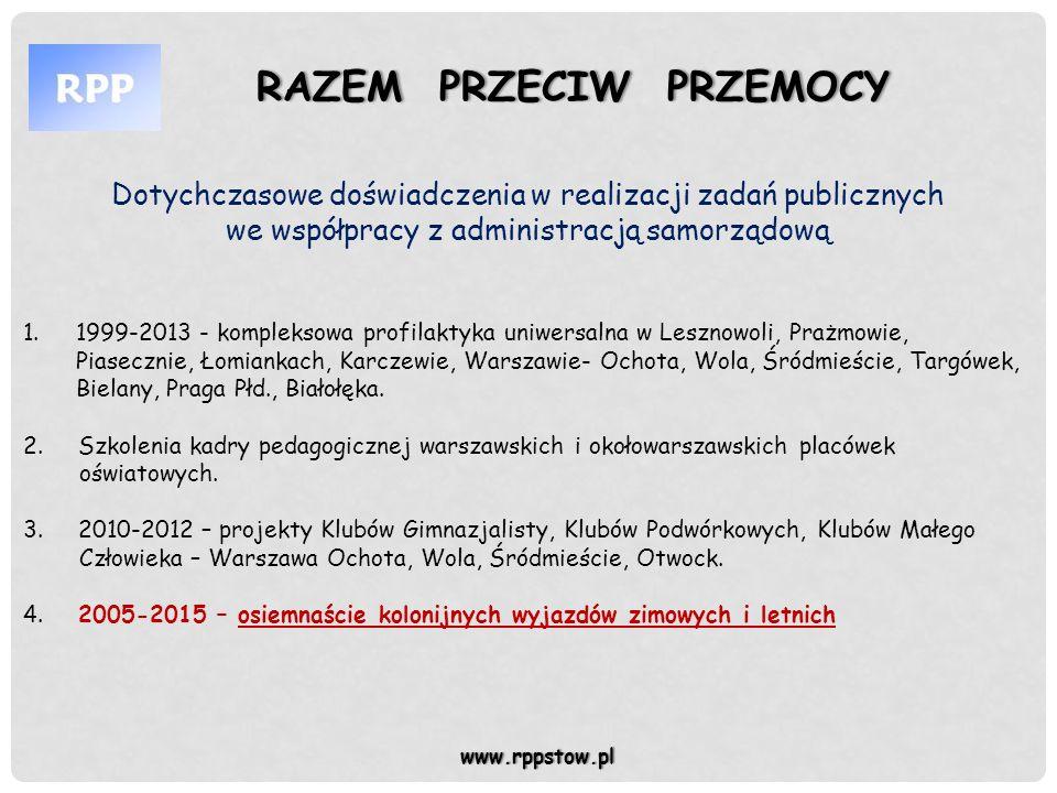 www.rppstow.pl Dotychczasowe doświadczenia w realizacji zadań publicznych we współpracy z administracją samorządową 1.1999-2013 - kompleksowa profilak