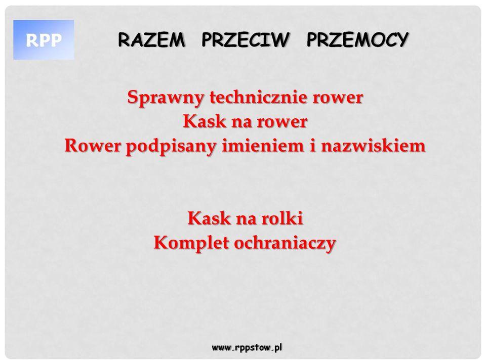 RAZEM PRZECIW PRZEMOCYRAZEM PRZECIW PRZEMOCY www.rppstow.pl Rzeczy, których lepiej nie zabierać na kolonie, ponieważ organizator nie ponosi za nie odpowiedzialności: -zbyt dużej ilości gotówki -urządzeń elektronicznych ( odtwarzacze mp3, mp4, telefony komórkowe, gry elektroniczne itp.) -drogiej biżuterii i zegarków -leków ( bez konsultacji z lekarzem), a o konieczności zażywania ich proszę poinformować wychowawców lub kierownika