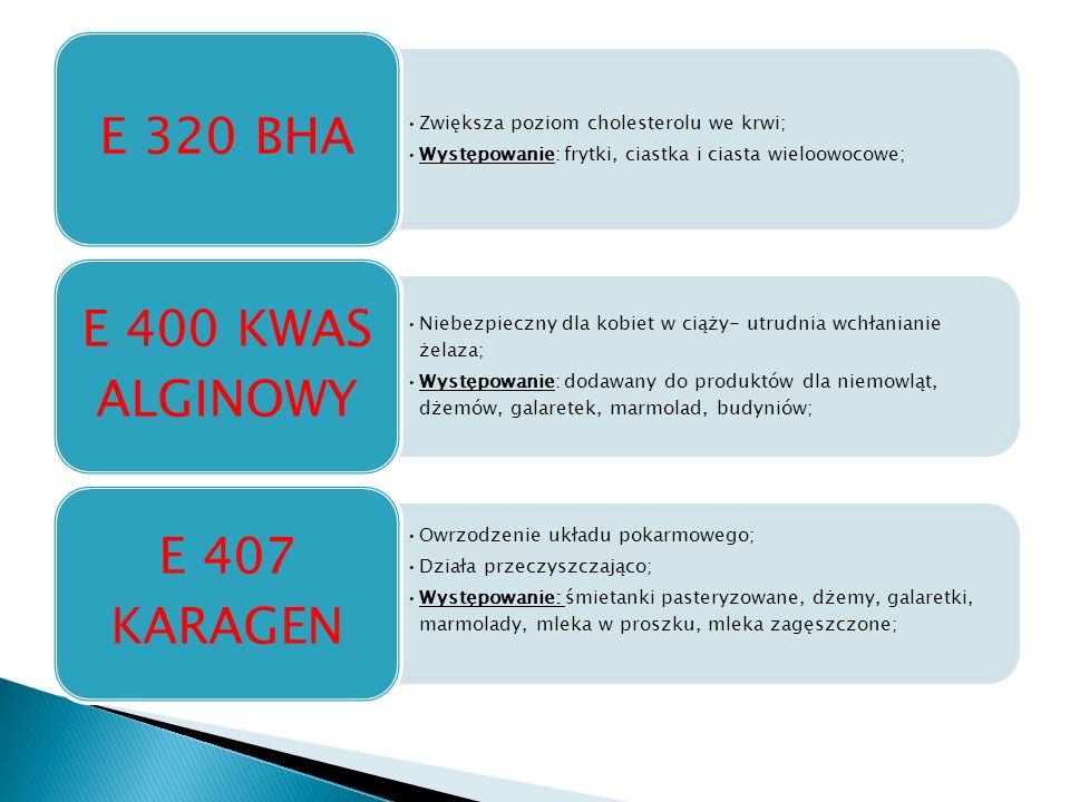 Zwiększa poziom cholesterolu we krwi; Występowanie: frytki, ciastka i ciasta wieloowocowe; E 320 BHA Niebezpieczny dla kobiet w ciąży- utrudnia wchłanianie żelaza; Występowanie: dodawany do produktów dla niemowląt, dżemów, galaretek, marmolad, budyniów; E 400 KWAS ALGINOWY Owrzodzenie układu pokarmowego; Działa przeczyszczająco; Występowanie: śmietanki pasteryzowane, dżemy, galaretki, marmolady, mleka w proszku, mleka zagęszczone; E 407 KARAGEN
