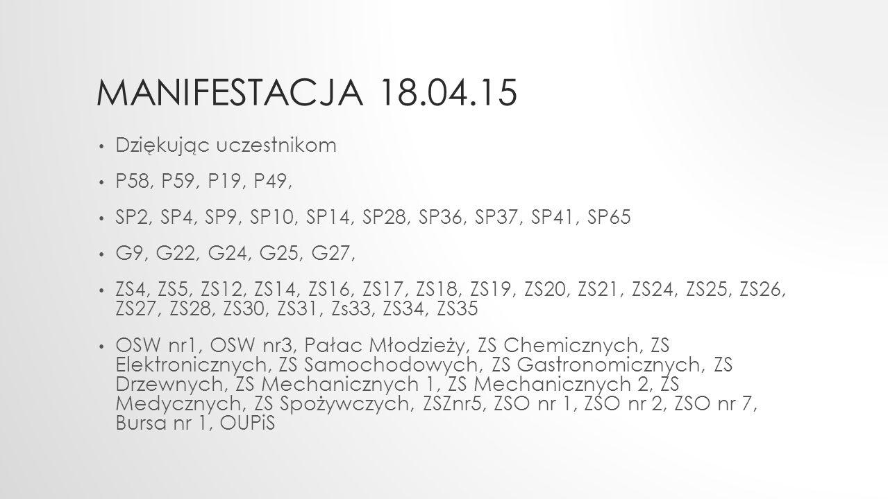 MANIFESTACJA 18.04.15 Dziękując uczestnikom P58, P59, P19, P49, SP2, SP4, SP9, SP10, SP14, SP28, SP36, SP37, SP41, SP65 G9, G22, G24, G25, G27, ZS4, Z