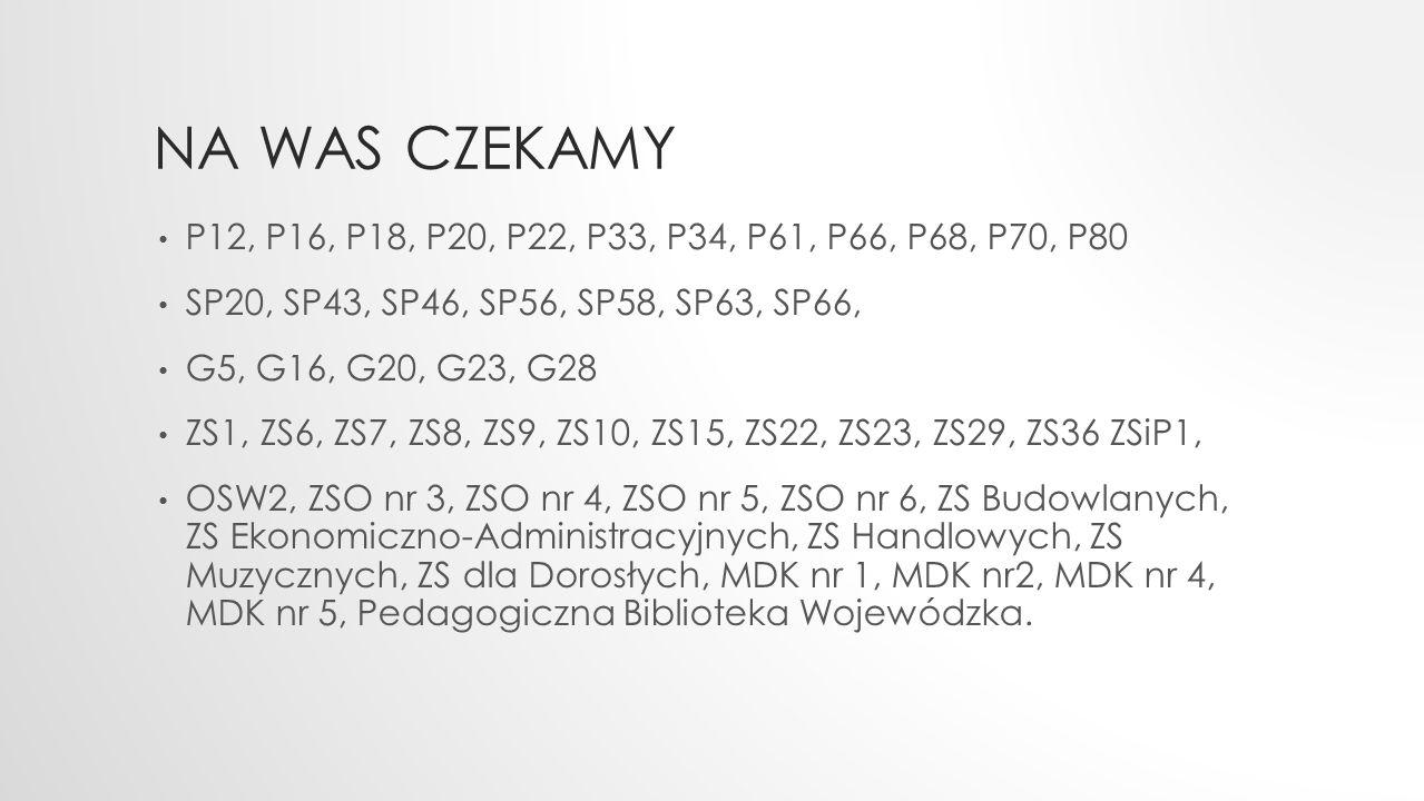 NA WAS CZEKAMY P12, P16, P18, P20, P22, P33, P34, P61, P66, P68, P70, P80 SP20, SP43, SP46, SP56, SP58, SP63, SP66, G5, G16, G20, G23, G28 ZS1, ZS6, Z