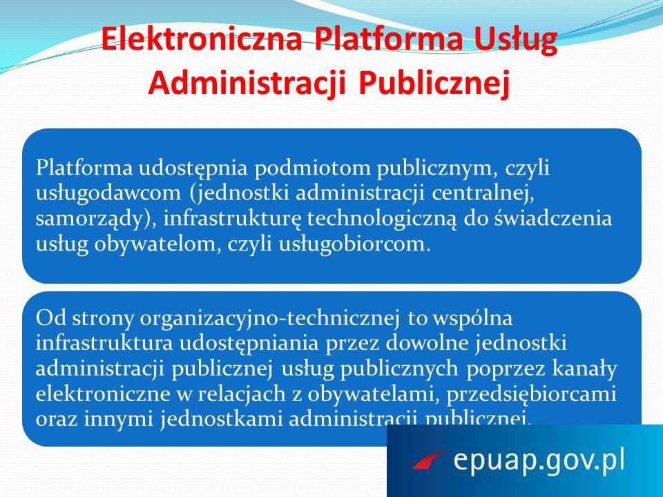 Elektroniczna Platforma Usług Administracji Publicznej Aplikacja projektu ePUAP ma zapewniać przekazywanie informacji i doręczanie dokumentów przez organy administracji publicznej zgodnie z obowiązującym prawem poprzez: zastosowanie usługi identyfikacji i uwierzytelnienia osób, podmiotów i systemów, usługi przekazywania dokumentów z wykorzystaniem legalnych skrzynek elektronicznych, usługi identyfikacji i powiadamiania nadawców i adresatów, usługi uwierzytelnianie przysyłanych dokumentów, potwierdzanie przedłożenia dokumentów, znakowanie czasem itd.