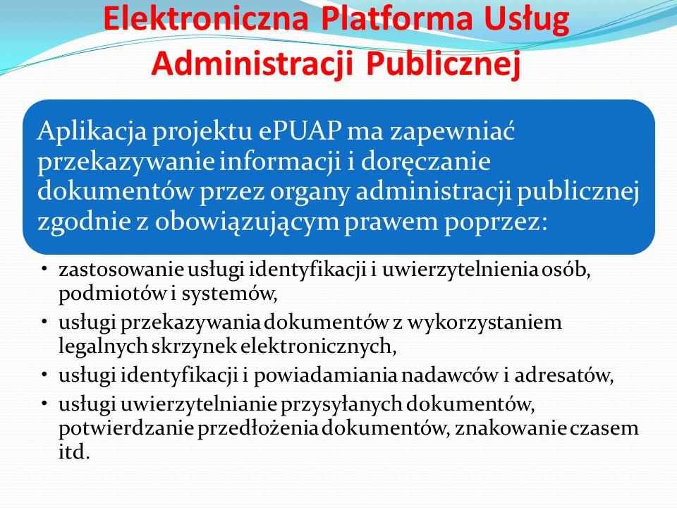 Elektroniczna Platforma Usług Administracji Publicznej Podstawowe usługi oferowane w ramach ePUAP obejmują swym zakresem m.in.: usługi rejestrowe, dotyczące zintegrowanego dostępu do zasobów informacyjnych administracji publicznej, usługi współpracy przy tworzeniu, publikacji i zarządzaniu rekomendacjami interoperacyjności, dostarczania wzorców referencyjnych i transformacji danych, usługi płatności elektronicznych, pochodzących wprawdzie spoza administracji, ale niezbędnych z punktu widzenia realizacji zadań publicznych drogą elektroniczną.
