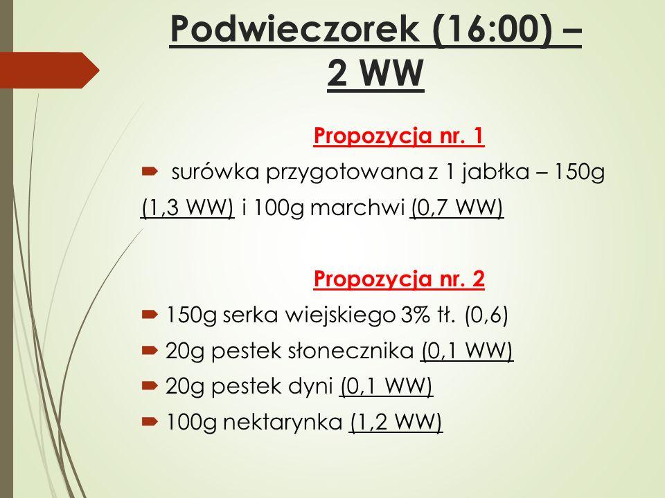 Podwieczorek (16:00) – 2 WW Propozycja nr. 1  surówka przygotowana z 1 jabłka – 150g (1,3 WW) i 100g marchwi (0,7 WW) Propozycja nr. 2  150g serka w