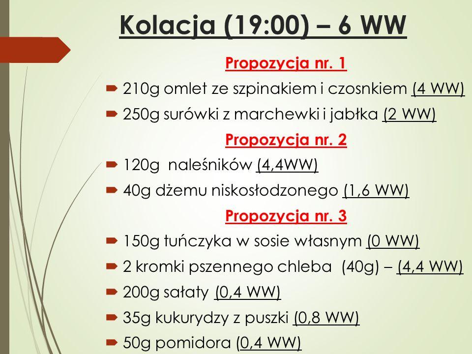 Kolacja (19:00) – 6 WW Propozycja nr. 1  210g omlet ze szpinakiem i czosnkiem (4 WW)  250g surówki z marchewki i jabłka (2 WW) Propozycja nr. 2  12