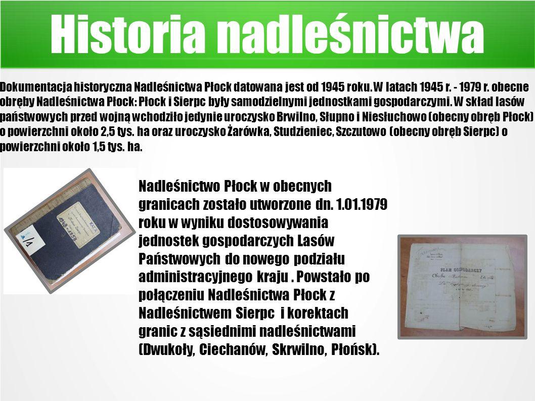 Historia nadleśnictwa Dokumentacja historyczna Nadleśnictwa Płock datowana jest od 1945 roku.