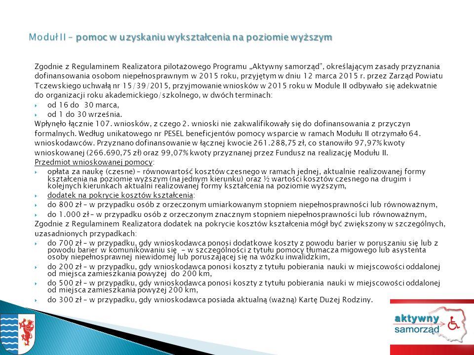 """Zgodnie z Regulaminem Realizatora pilotażowego Programu """"Aktywny samorząd , określającym zasady przyznania dofinansowania osobom niepełnosprawnym w 2015 roku, przyjętym w dniu 12 marca 2015 r."""