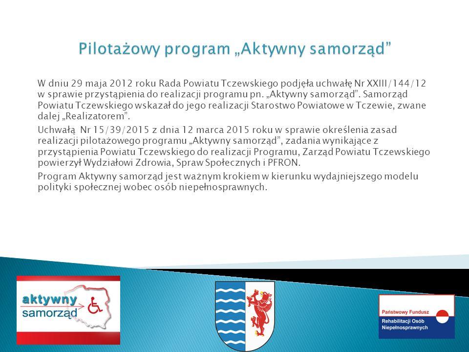 W dniu 29 maja 2012 roku Rada Powiatu Tczewskiego podjęła uchwałę Nr XXIII/144/12 w sprawie przystąpienia do realizacji programu pn.