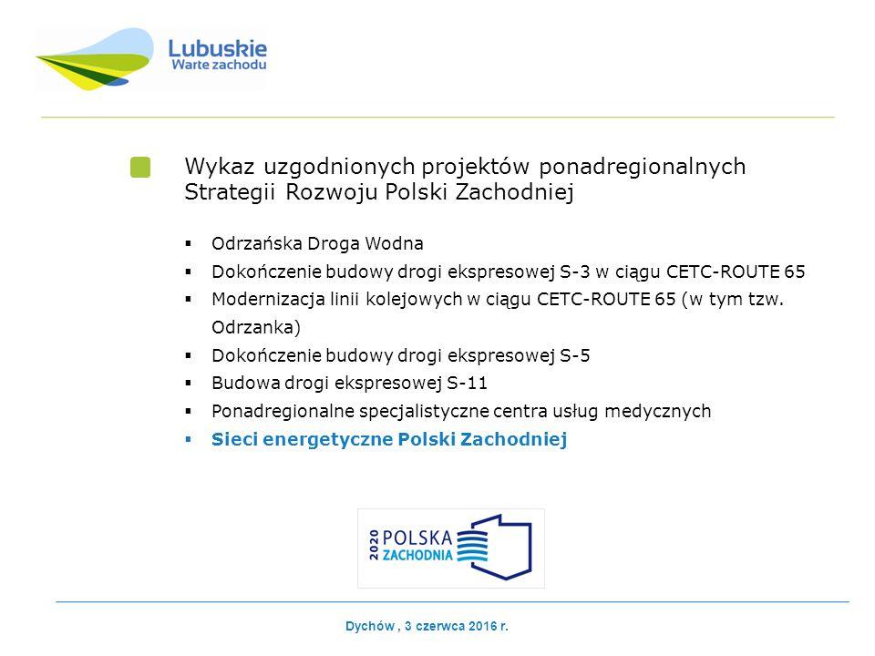 Wykaz uzgodnionych projektów ponadregionalnych Strategii Rozwoju Polski Zachodniej  Odrzańska Droga Wodna  Dokończenie budowy drogi ekspresowej S-3 w ciągu CETC-ROUTE 65  Modernizacja linii kolejowych w ciągu CETC-ROUTE 65 (w tym tzw.