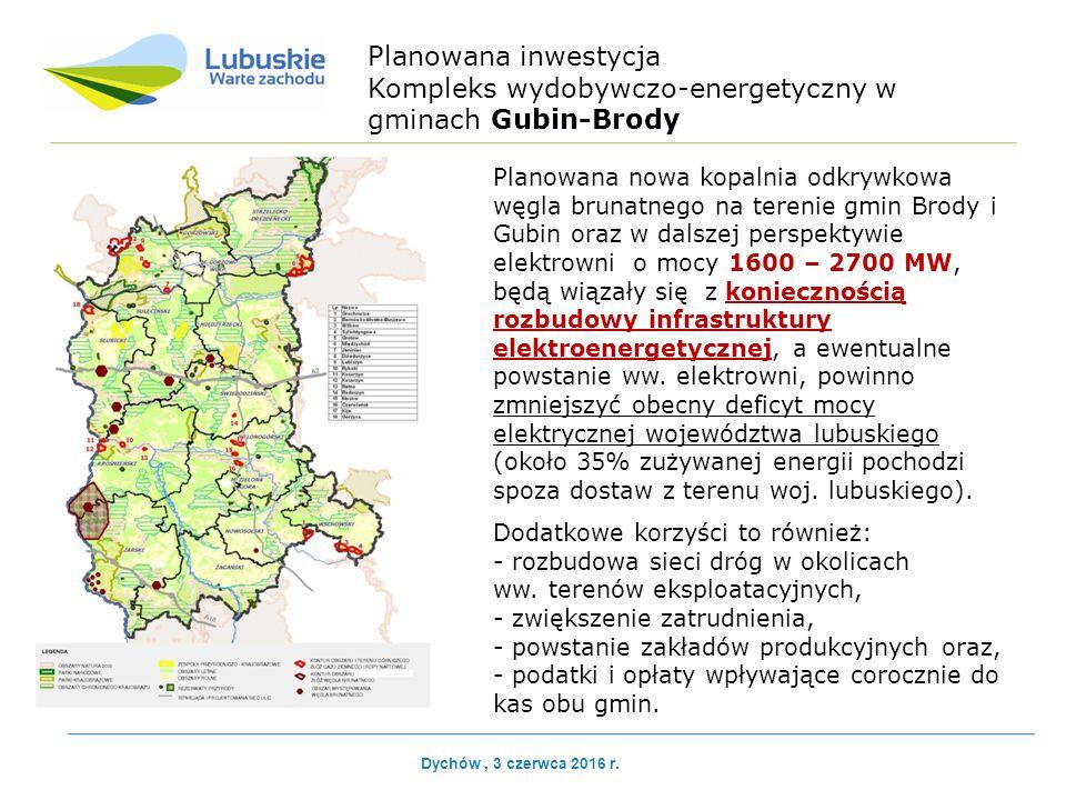 Planowana inwestycja Kompleks wydobywczo-energetyczny w gminach Gubin-Brody Planowana nowa kopalnia odkrywkowa węgla brunatnego na terenie gmin Brody i Gubin oraz w dalszej perspektywie elektrowni o mocy 1600 – 2700 MW, będą wiązały się z koniecznością rozbudowy infrastruktury elektroenergetycznej, a ewentualne powstanie ww.