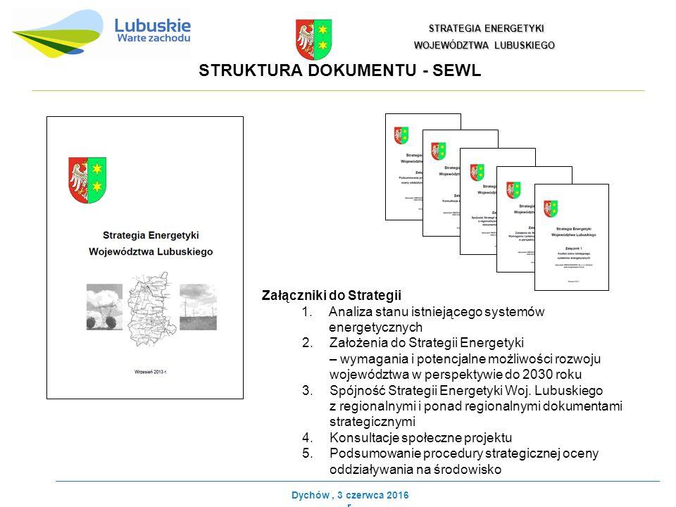 STRUKTURA DOKUMENTU - SEWL STRATEGIA ENERGETYKI STRATEGIA ENERGETYKI WOJEWÓDZTWA LUBUSKIEGO Załączniki do Strategii 1.Analiza stanu istniejącego systemów energetycznych 2.Założenia do Strategii Energetyki – wymagania i potencjalne możliwości rozwoju województwa w perspektywie do 2030 roku 3.Spójność Strategii Energetyki Woj.